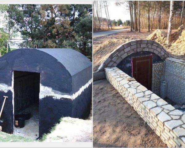 Piwniczka betonowa ziemianka ogrodowa ze zbiornika na sz
