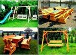 Meble ogrodowe, drewniane, barowe, huśtawki, stół, ławka